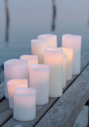 Enjoy candles i Nordic white, vaxljus med led