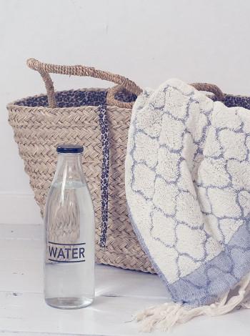 Glasflaska med skruvlock, Water, Bloomingville