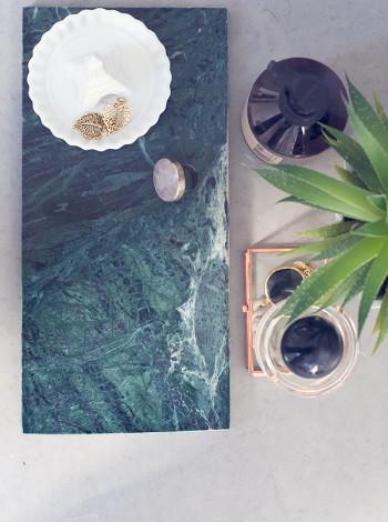 Stenplatta/Skärbräda i grön marmor, 30x15