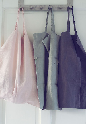Linen bag, linneväska, stentvättad, Tell Me More