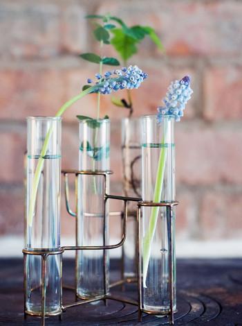 Provrörsvas, ställning i koppar med fem provrör i glas, House Doctor