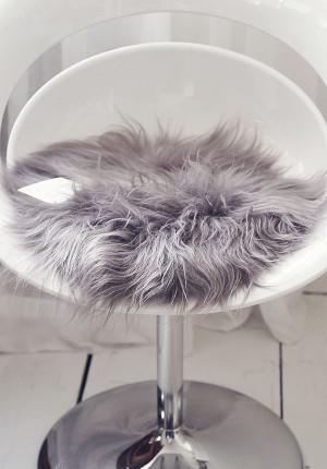 Fårskinn isländskt, grått, sittdyna